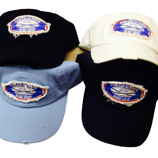 surf shop hats with stitched endless summer logo