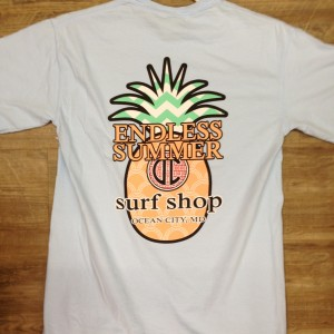 light blue endless summer shirt with pineapple logo