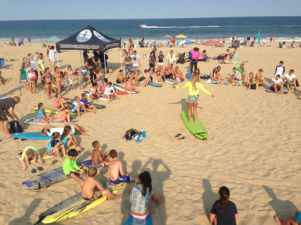 surf school being held on Ocean City MD beach