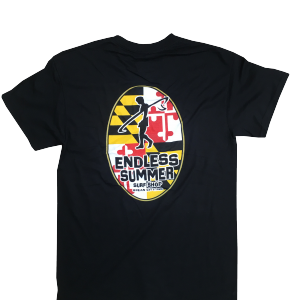 Black Endless Summer tshirt with maryland flag logo