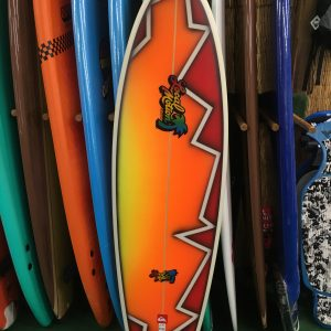 red and orange authentic local motion surfboard