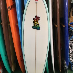 white local motion surfboard with light blue border
