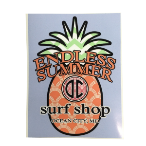 surf shop sticker with pineapple in background