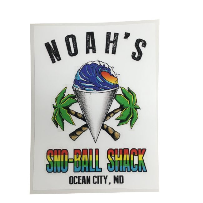 noahs sno-ball shack sticker with sno-cone image