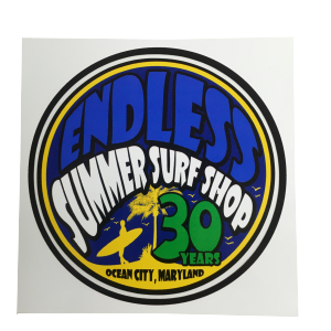 round surf shop 30 year sticker