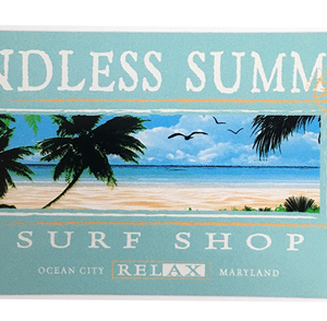 surf shop sticker with the word relax bewteen ocean city and maryland
