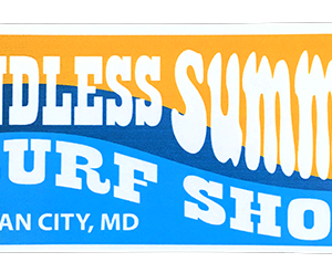 retro endless summer orange and blue sticker