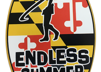 endless summer surf sticker with maryland flag background