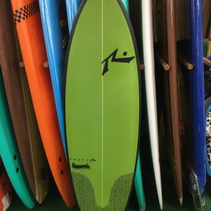 green rusty smoothie model five fin surfboard